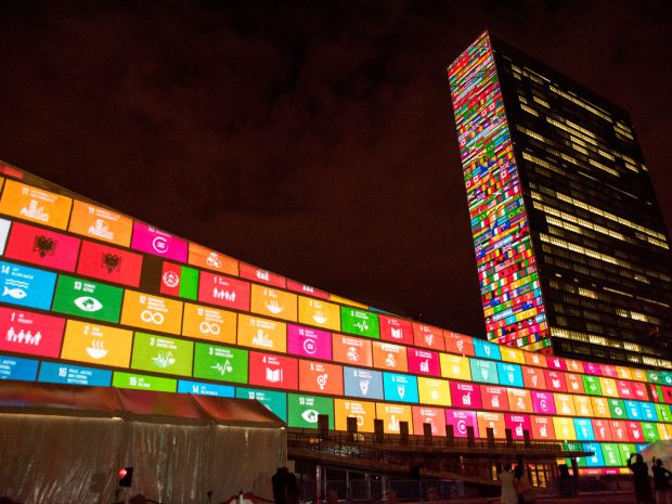 UN SDG lights (c) UN Photo/Chia Pak