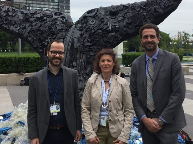 Sebastian Unger (IASS), Nicola Breier (BMUB), and Adnan Awad (IOI) at the UN Ocean Conference in New York.